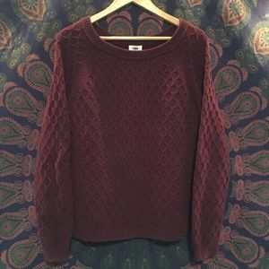 Maroon Cable Pullover Sweater Pretty Winter Large
